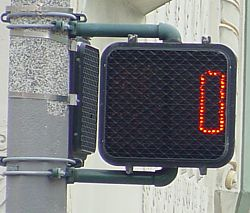 Pedestrians countdown time runs down to 0